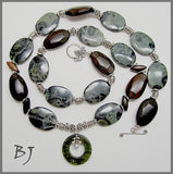 Dark Green Aventurine Donut with Kambaba Jasper and Tiger Ebony Accents-Adornments by BJ