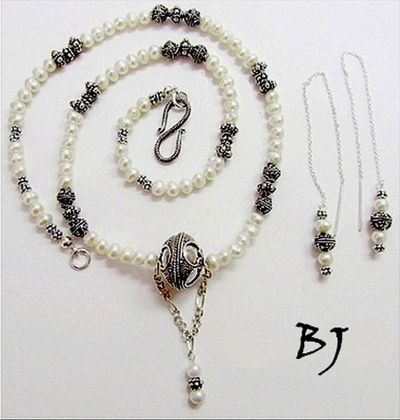 Elegant Bali with Cultured and Freshwater White Pearls-Adornments by BJ