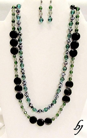 Emerald and Black Crystals in an 'Any Day' Double Strand Necklace Set-Adornments by BJ