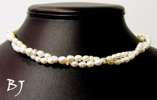 Exquisite White Cultured Pearl and Sterling Silver Necklace Set-Adornments by BJ