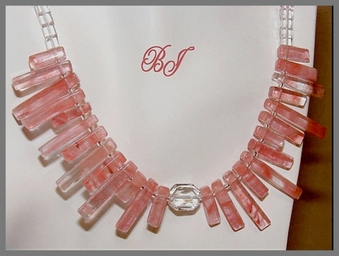 Fan Beads of Sparkling Cherry Quartz Glass in a Necklace Set-Adornments by BJ
