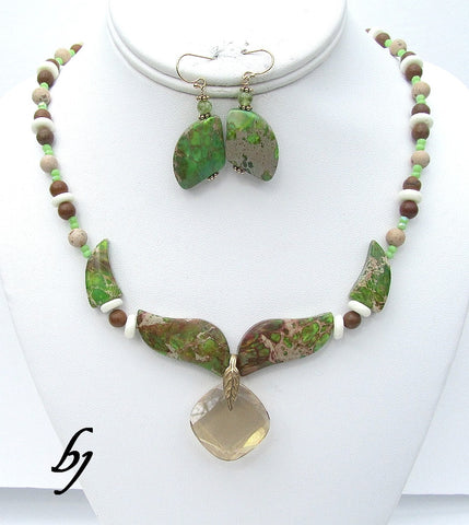 Featuring a Jasper Flame Pendant Set with Coordinating Elements-Adornments by BJ