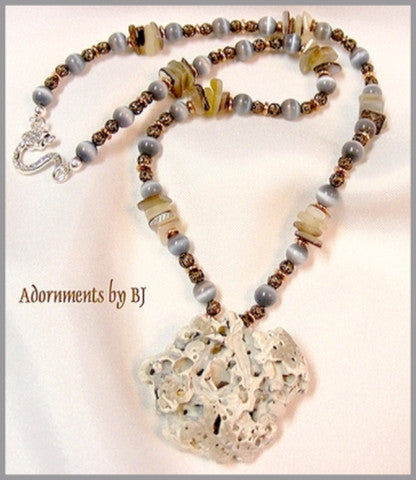 Fossilized Sea Coral Pendant Livened Up with Beads and Copper-Adornments by BJ