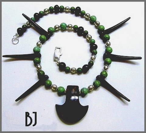 Green Turquoise, Snake Agate and Horn Teeth Necklace Set-Adornments by BJ