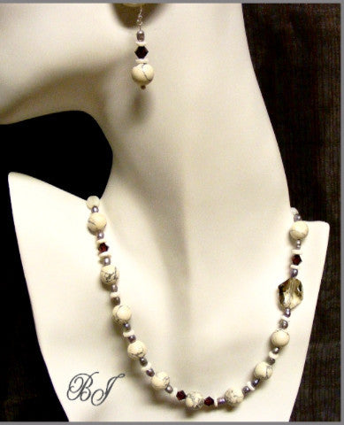 Howlite Gemstone Marble Look-Alike Necklace Set-Adornments by BJ