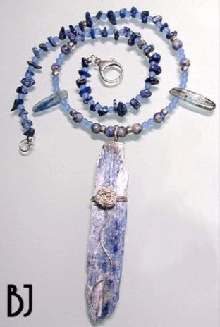 Intriguing Blue Kyanite Blade Pendant with Coordinating Beads-Adornments by BJ