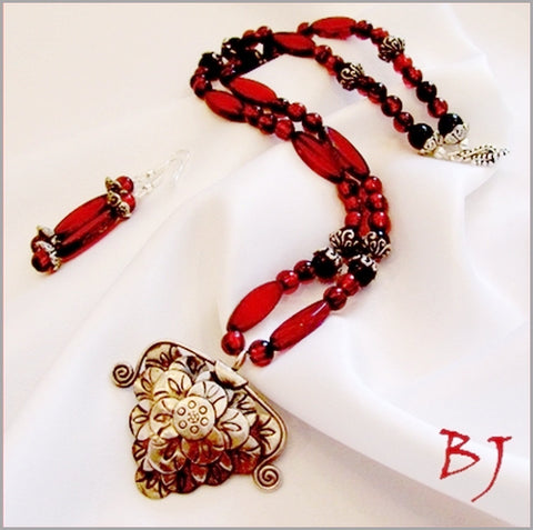 Karen Hill Tribe Pendant Featured with Red Czech Glass Beads-Adornments by BJ