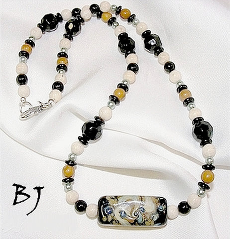 Lampwork Glass Focal with Gemstones, Pearls & Fossil Beads to Match-Adornments by BJ