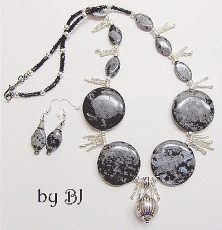Larvikite Displays Its Beautiful Iridescence In This Unique Set-Adornments by BJ