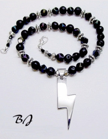 Lightning Strikes with Black Basalt Rounds and Unique Black Beads-Adornments by BJ