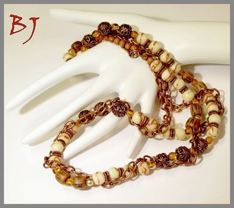 Limestone Tiger Beads Featured in a Double Strand of Copper Chain-Adornments by BJ