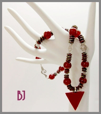 Luscious Carnelian Triangle Pendant is Paired with Red Agate in this Necklace Set-Adornments by BJ