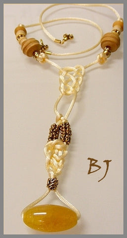 Mexican Golden Agate Drops From A Yellow Satin Cord Necklace-Adornments by BJ