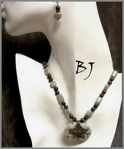 Minty Sesame Jasper And Bronzite Create A Stylish Necklace Set-Adornments by BJ