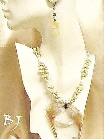 Mother of Pearl, Feather and Shells in a Two Strand Necklace Set-Adornments by BJ