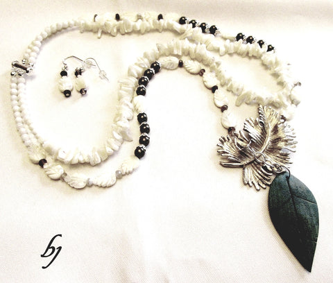Mother of Pearl Leaves and Chips Join Silver and Wood Leaves in this Double Strand Necklace Set-Adornments by BJ