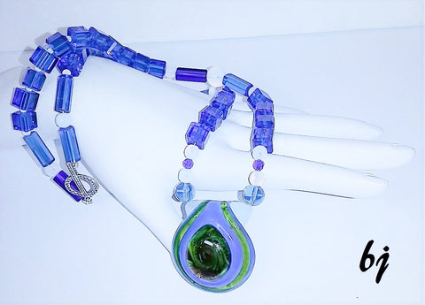 Murano Glass Pendant Reflects Cobalt Blue Square Crystals and Opalite Beads-Adornments by BJ