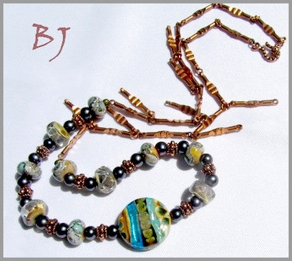 Murano Lampwork Glass ~ Beautiful with Vintage Copper Chain-Adornments by BJ