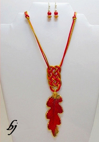 Oak Leaf Transformed as Part of this Chinese Knotted Necklace Set-Adornments by BJ