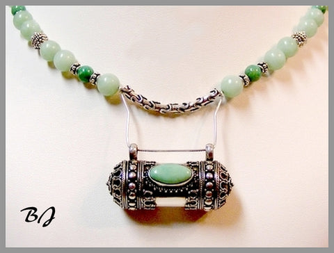 Ornate Turquoise Pendant is the Star of this Necklace Set-Adornments by BJ