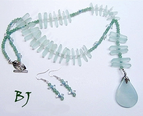 Pale Aqua Sea Glass Sticks Make for a Creative Artisan Necklace Set-Adornments by BJ