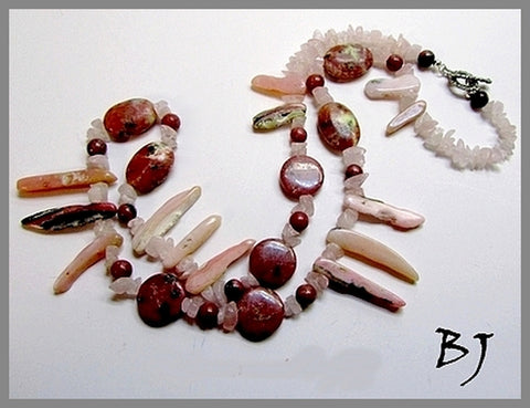 Peruvian Pink Opals Paired With Rhodonite-Adornments by BJ