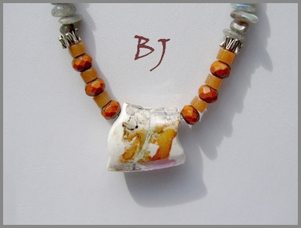 Pottery Art Bead Surrounded by Marble Picasso Fire Polished Rondelles-Adornments by BJ