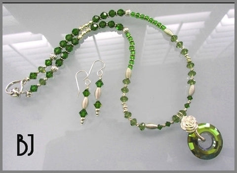 Presenting a Swarovski Olivine Donut Pendant Necklace Set-Adornments by BJ