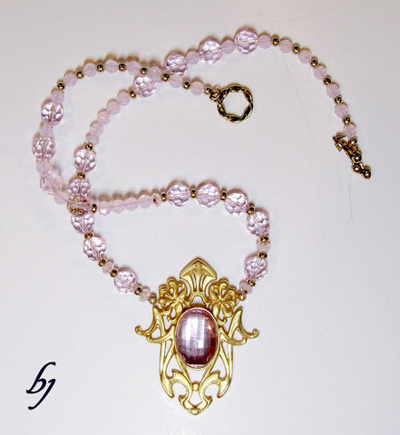 Pretty in Pink Crystals with Gold Enhancements-Adornments by BJ