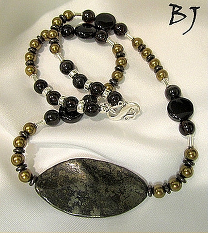 Pyrite Wavy Leaf Focal Combined with Complementary Elements-Adornments by BJ