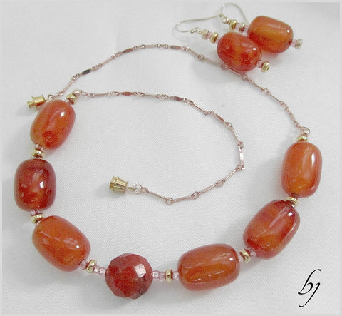 Red Coral Gemstones Enhanced with Gold Chain and Gold Beads-Adornments by BJ