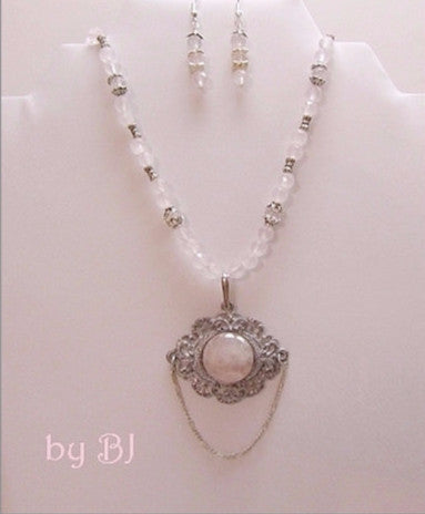 Rose Quartz in a Vintage Antique Silver Setting-Adornments by BJ