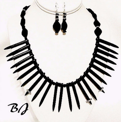 Spikes Add Definitive Interest to an Artisan Jewelry Set-Adornments by BJ