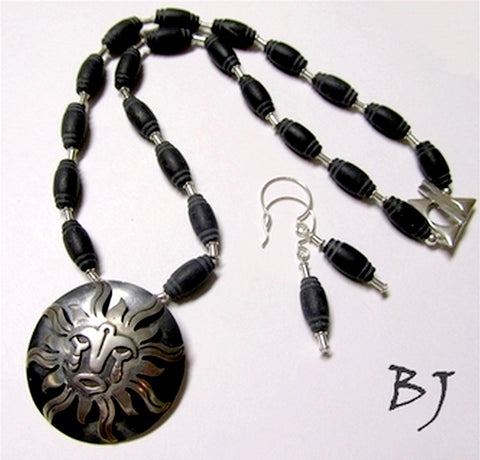 Sun God - Vintage Mexican Taxco Sterling Silver Pendant Set-Adornments by BJ
