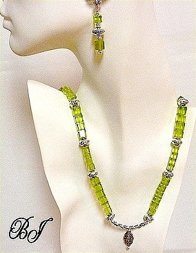 Swarovski Lime Cubes and Sterling Silver for a Stunning Look-Adornments by BJ