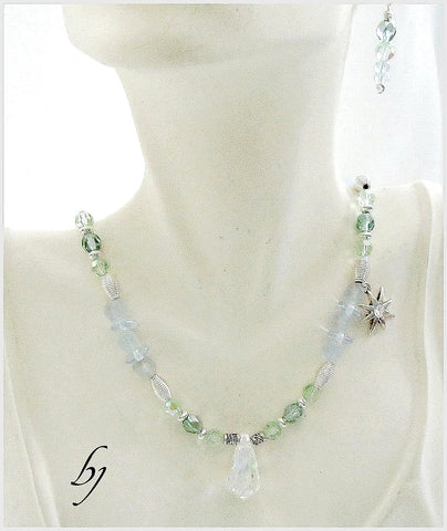 Swarovski Moonlight Pendant Glistens with Iced Mint Crystals-Adornments by BJ