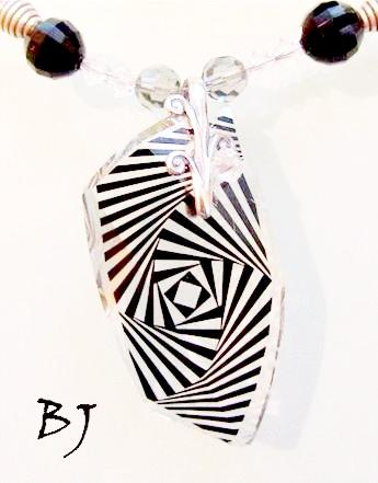 Swarovski Zebra Print Avant-Garde Pendant with Black and Silver Beads-Adornments by BJ