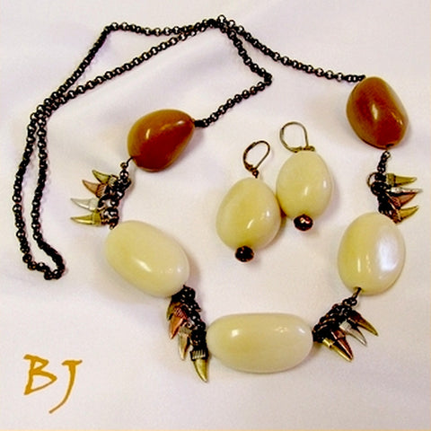 Tagua Nuts, Bronze Chain and Daggers Necklace Set-Adornments by BJ