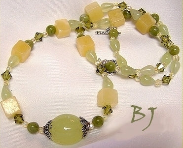 Sherbet Colors Of Chalcedony, Citrine And Prehnite-Adornments by BJ