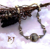 Triangular Bliss In A Great Quartzite Needle Agate Necklace Set-Adornments by BJ