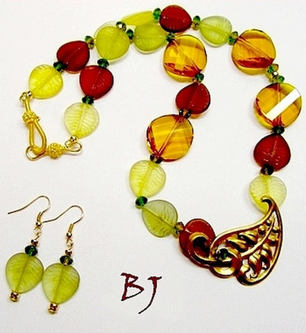 Vintage Brass Leaf Pendant Highlights Autumn Leaves-Adornments by BJ