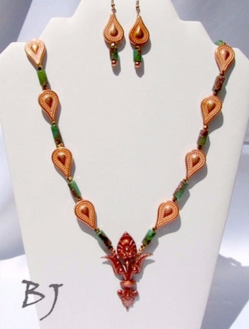 Vintage Copper Pendant Featuring Chrysocolla and Copper Beads-Adornments by BJ
