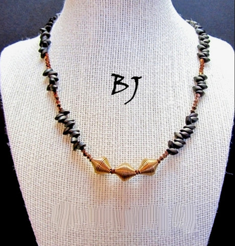 Vintage Wired Bronze Bicone Shaped Beads Featured in this Necklace Set-Adornments by BJ
