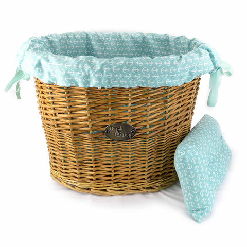 Aqua Blue With White Anchors Basket Liner - Beach & Dog Co.