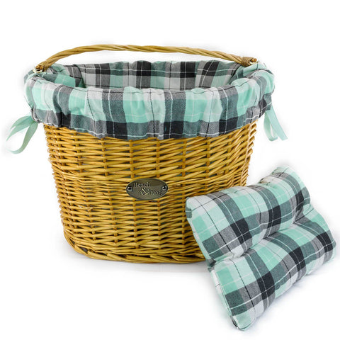 Beach & Dog Co - Aqua and Black Plaid Basket Liner