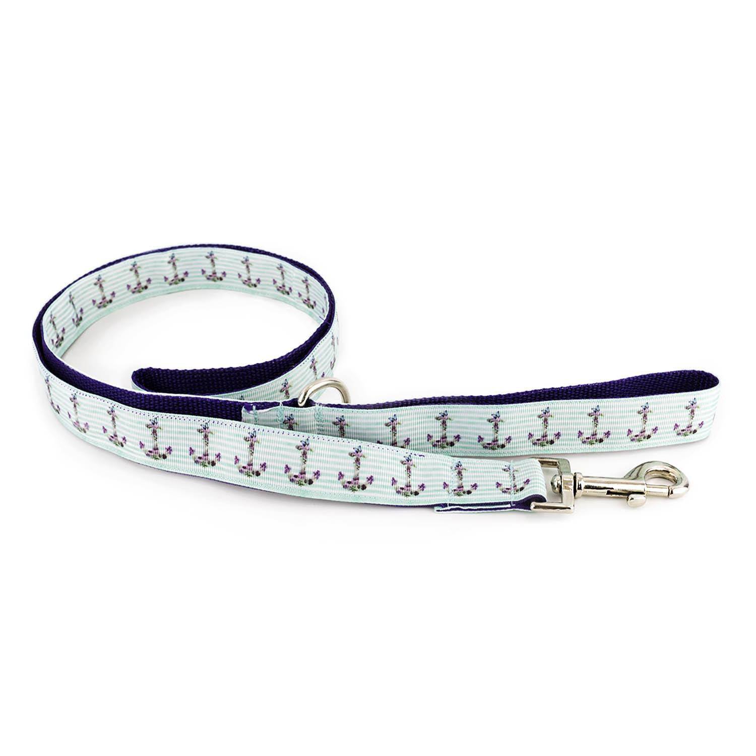 Blue Anchors on Celeste Leash - Beach & Dog Co.