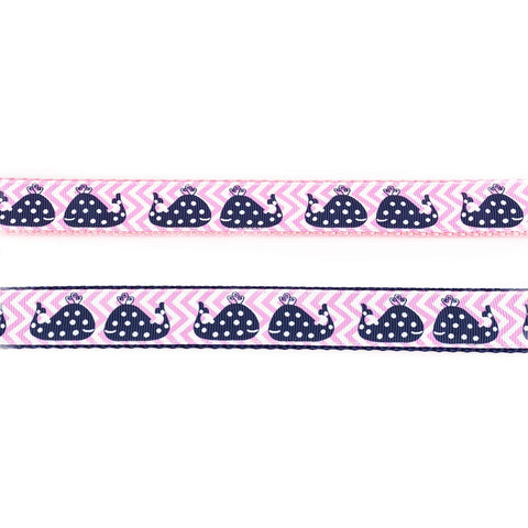 Blue Whales on Pink Collar - Beach & Dog Co.