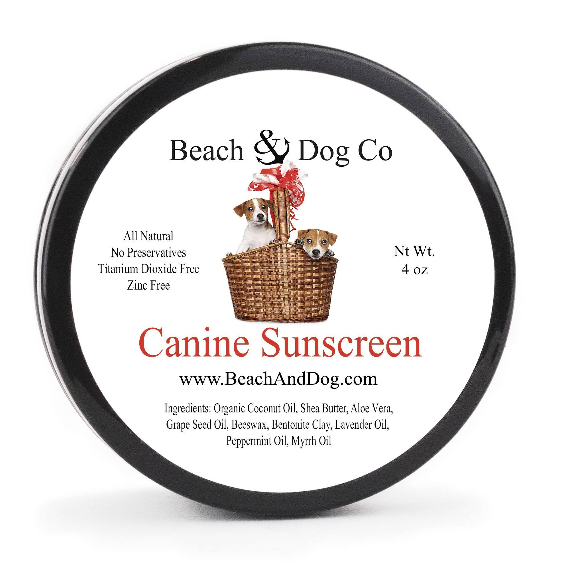 Canine Sunscreen - 4 oz - Zinc and Titanium Dioxide Free - All Natural and Organic Formula - Beach & Dog Co.