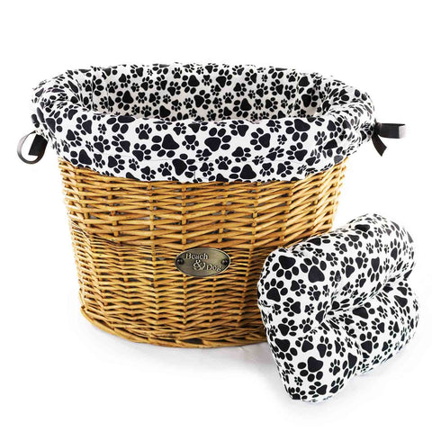 Dog Paws on White Basket Liner - Beach & Dog Co