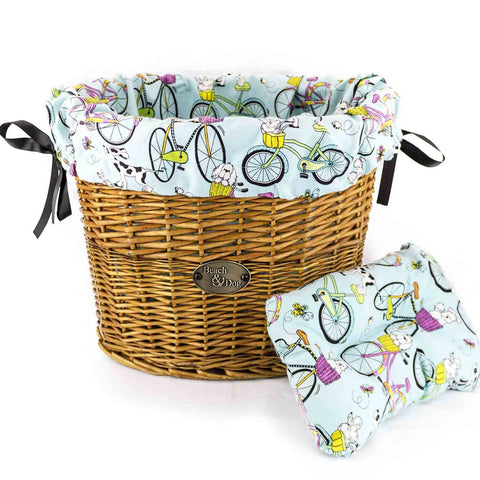 Aqua Blue Stripes Basket Liner